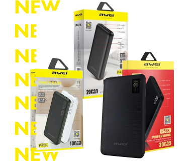 Awei Power Bank 10,000 mAh, 20,000 mAh, 30,000 mAh