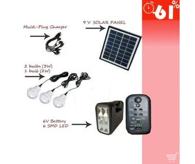 Ηλιακό σύστημα οικιακού φωτισμού με 3 λαμπτήρες LED