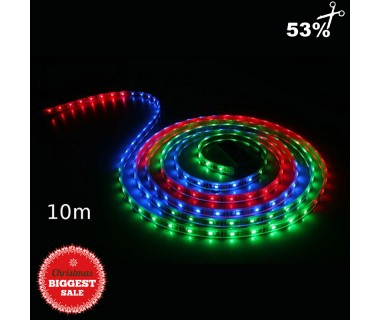 Ταινία LED 10m RGB πολύχρωμη εξωτερικού χώρου αδιάβροχη