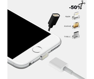 Μαγνητικό Καλώδιο Φόρτισης και Δεδομένων USB σε USB to Micro USB, Type C, iOS 1m (Μαυρο / Λευκο)