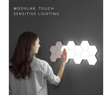 Εξαγωνικό Επιτοίχιο Μαγνητικό Φωτιστικό LED Αφής Σετ 6τμχ