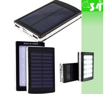 Ηλιακός Φορτιστής Powerbank Υψηλής Ισχύος 2,1A 20000mah (8-10.000 mAh πραγματική) & Φωτιστικό LED
